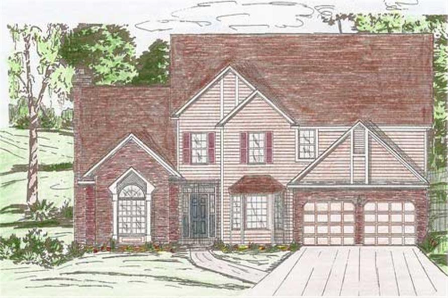 Front elevation of European home (ThePlanCollection: House Plan #147-1082)
