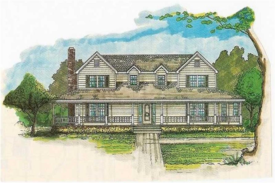 Front elevation of Country home (ThePlanCollection: House Plan #147-1113)