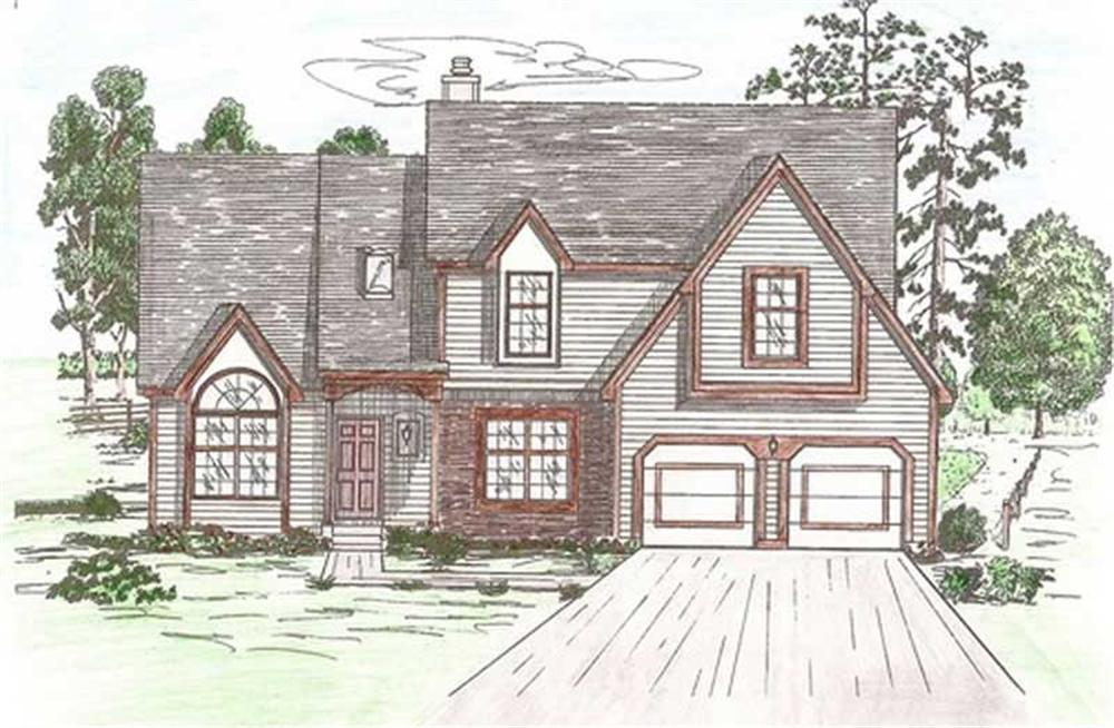 Front elevation of European home (ThePlanCollection: House Plan #147-1114)