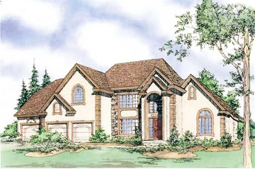 Front elevation of Mediterranean home (ThePlanCollection: House Plan #147-1115)