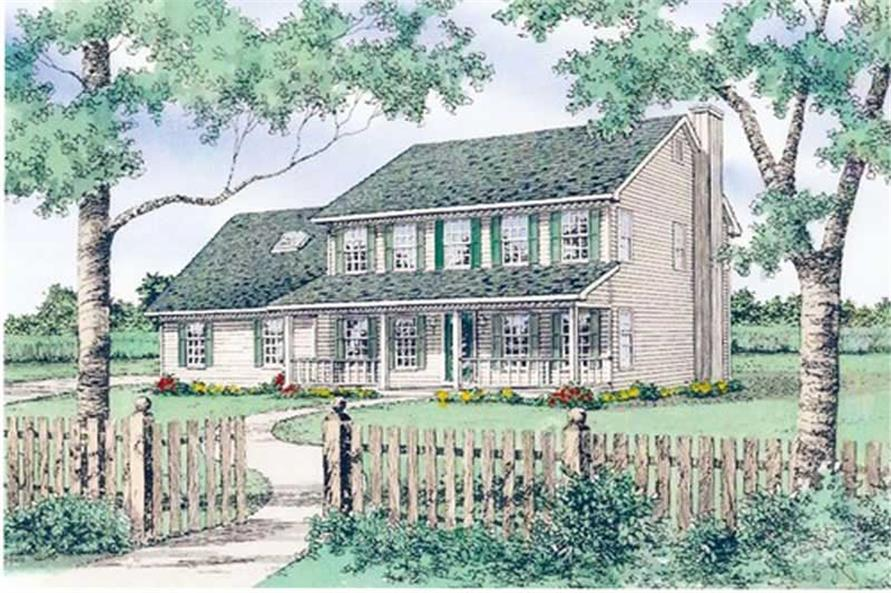Front elevation of European home (ThePlanCollection: House Plan #147-1120)