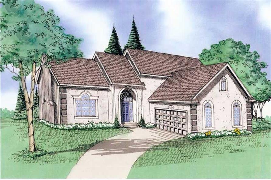 Front elevation of Traditional home (ThePlanCollection: House Plan #147-1124)