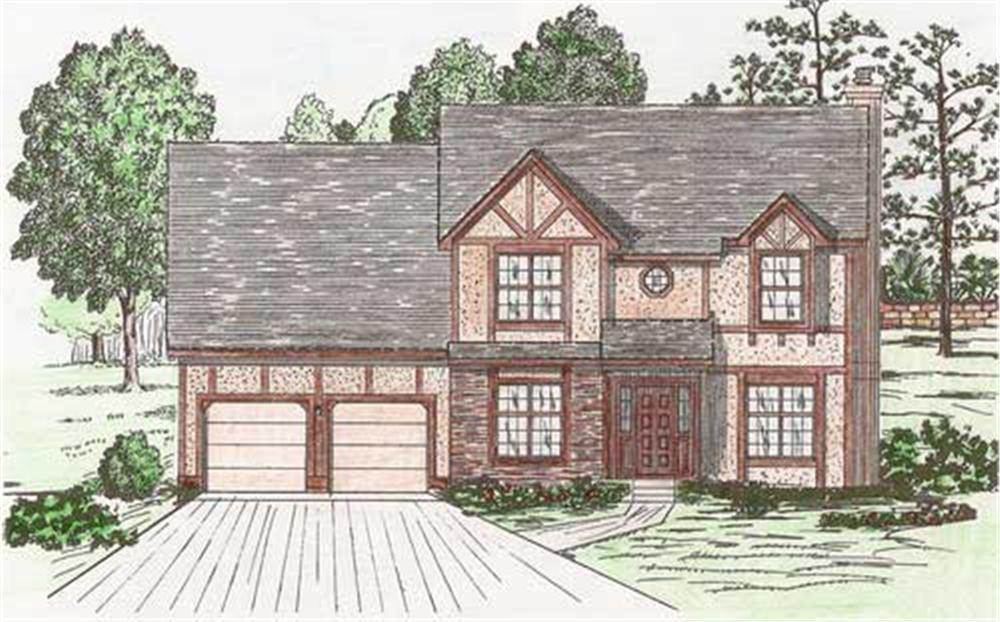 Front elevation of European home (ThePlanCollection: House Plan #147-1134)