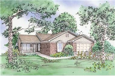 3-Bedroom, 1111 Sq Ft Country House Plan - 147-1135 - Front Exterior