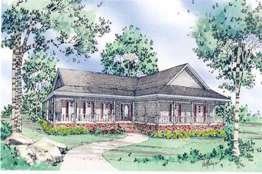 3-Bedroom, 1880 Sq Ft Country House Plan - 147-1141 - Front Exterior
