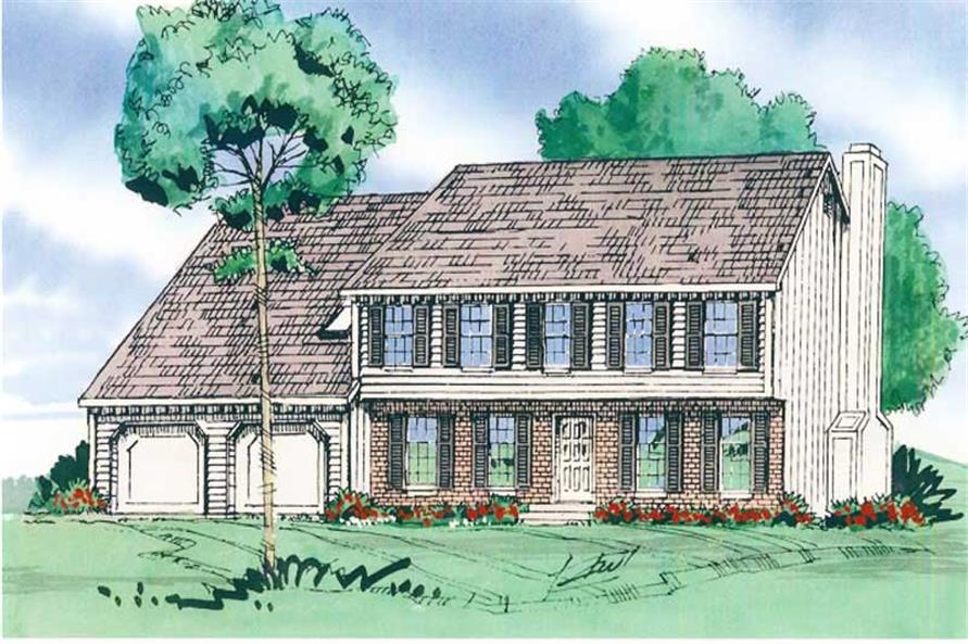 Front elevation of European home (ThePlanCollection: House Plan #147-1143)