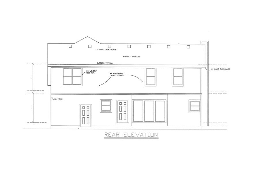 Home Plan Rear Elevation of this 3-Bedroom,2043 Sq Ft Plan -147-1151