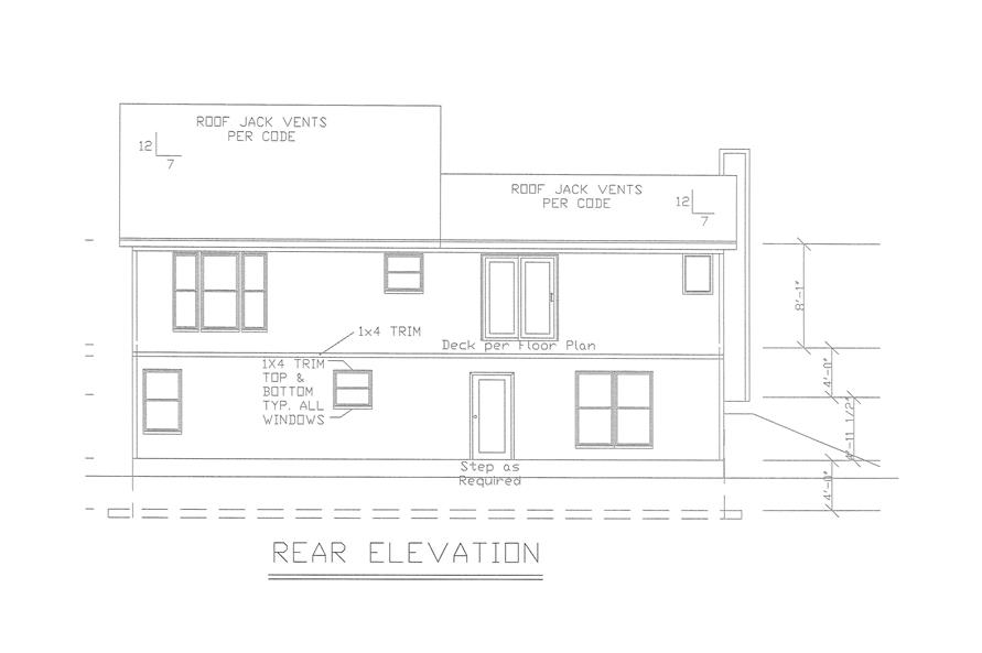 Home Plan Rear Elevation of this 4-Bedroom,2041 Sq Ft Plan -147-1152
