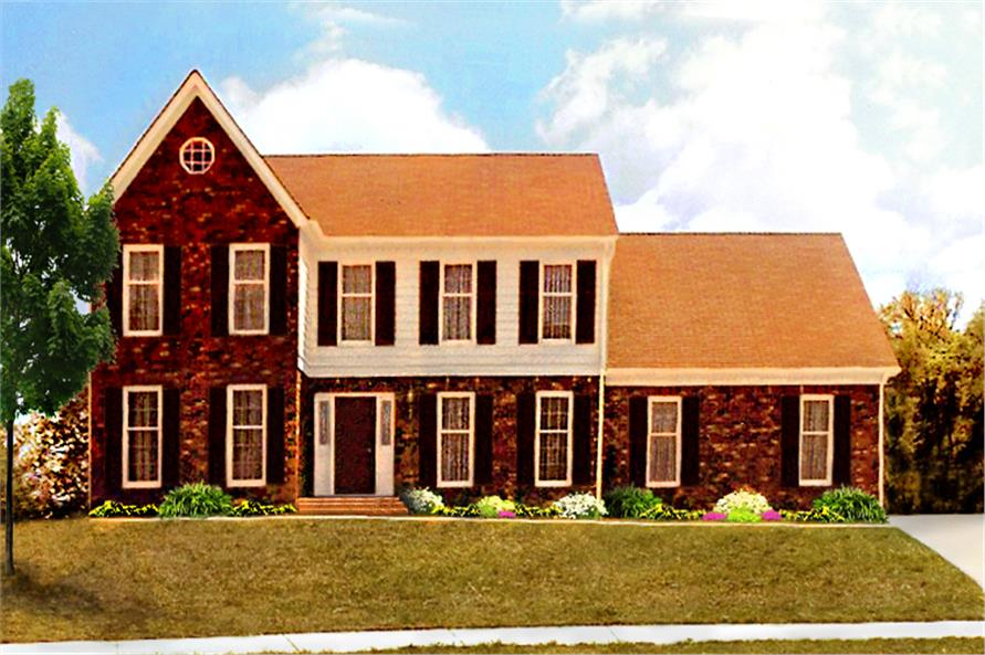 Front elevation of Traditional home (ThePlanCollection: House Plan #147-1155)