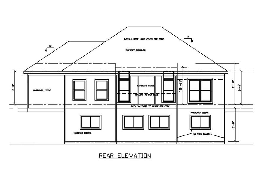 Home Plan Rear Elevation of this 4-Bedroom,2587 Sq Ft Plan -147-1158