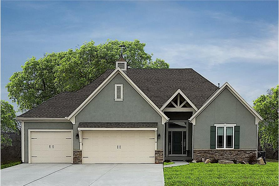 3-Bedroom, 1748 Sq Ft Ranch House - Plan #147-1164 - Front Exterior