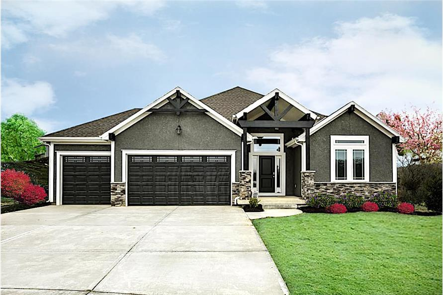 4-Bedroom, 3168 Sq Ft Ranch House - Plan #147-1166 - Front Exterior