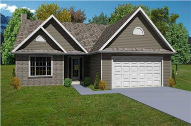 3-Bedroom, 1568 Sq Ft Country Home Plan - 148-1000 - Main Exterior