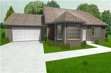 2-Bedroom, 1368 Sq Ft Ranch Home Plan - 148-1005 - Main Exterior