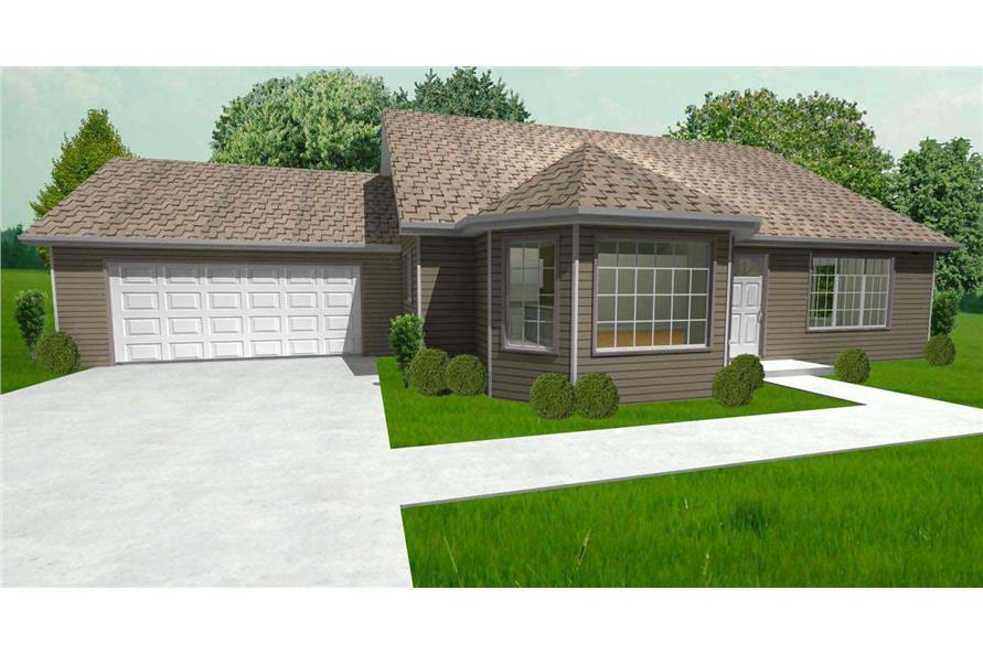 This is a 3D computerized rendering of these Ranch House Plans.