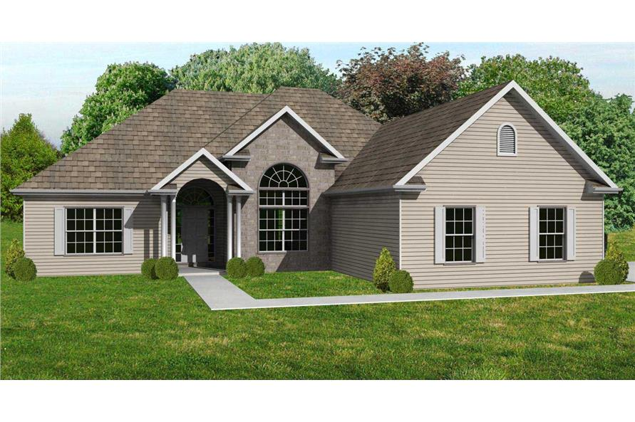 This is the front elevation of these European House Plans.