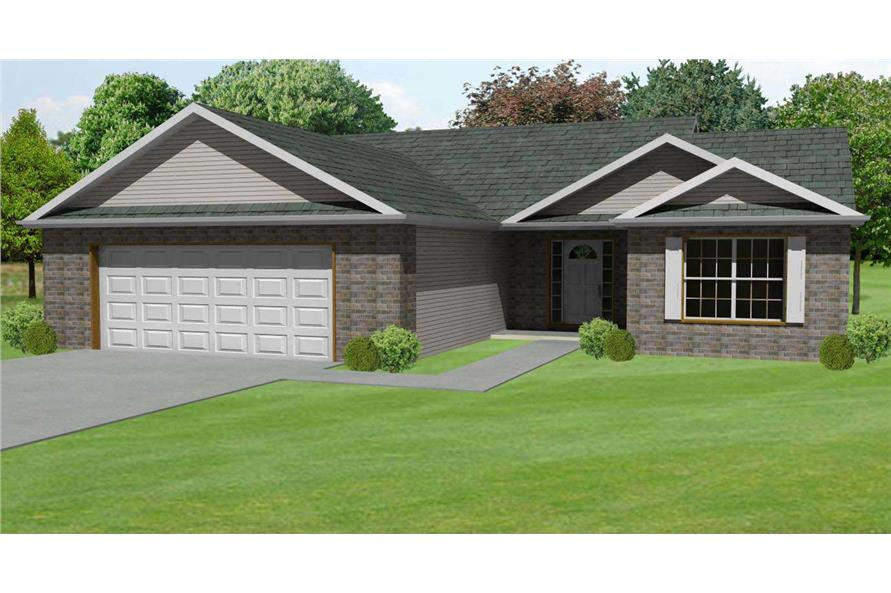 This is a 3D rendering of these Ranch Homeplans.