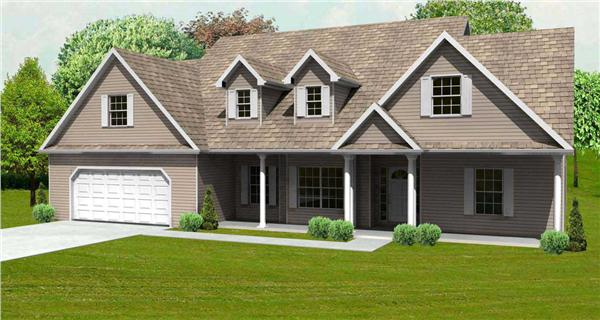 This is a 3D Computer rendering of these Country House Plans.