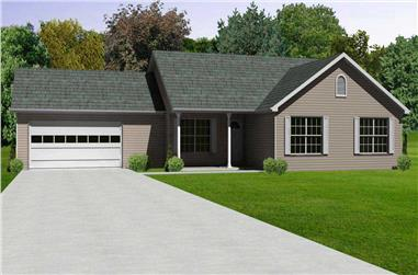 3-Bedroom, 1478 Sq Ft Country Home Plan - 148-1015 - Main Exterior