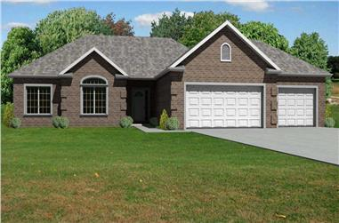 This is a computer generated front elevation of these Ranch House Plans.