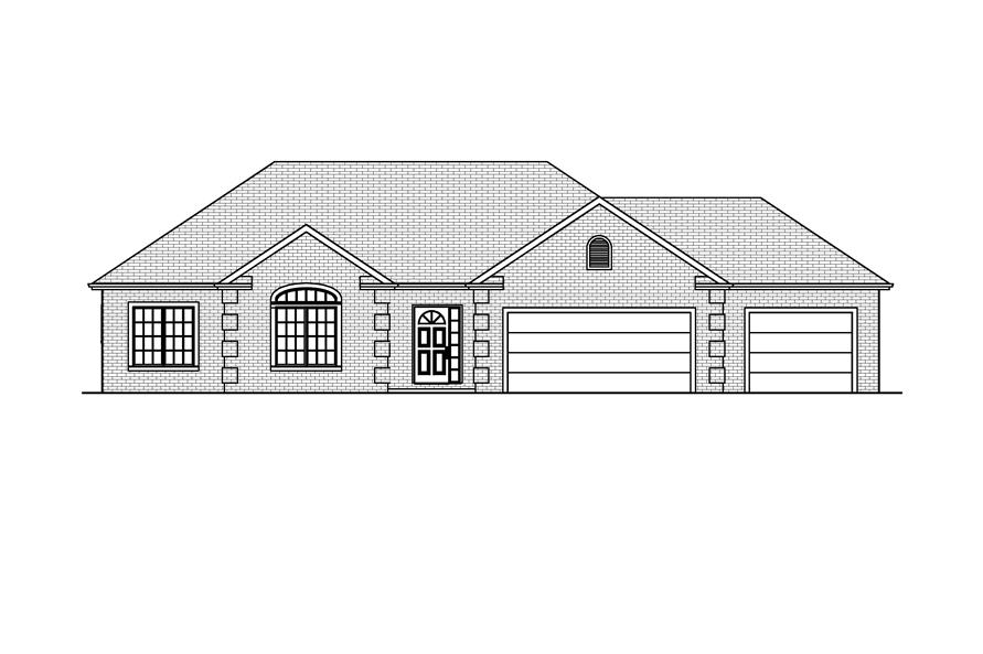 Home Plan Front Elevation of this 3-Bedroom,1540 Sq Ft Plan -148-1016