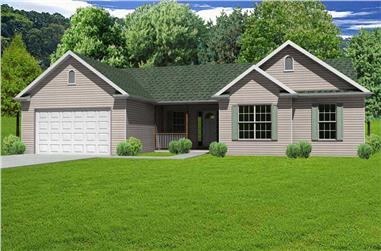 3-Bedroom, 1476 Sq Ft Country House Plan - 148-1017 - Front Exterior