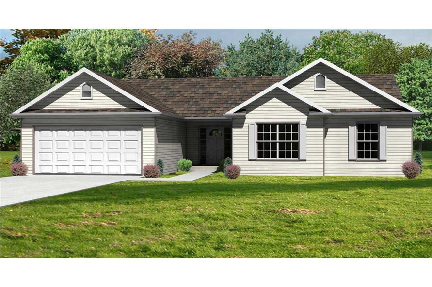 This is a front elevation of these Ranch Houseplans.