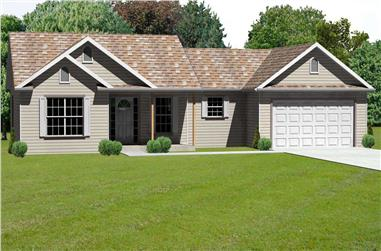 3-Bedroom, 1538 Sq Ft Country Home Plan - 148-1019 - Main Exterior