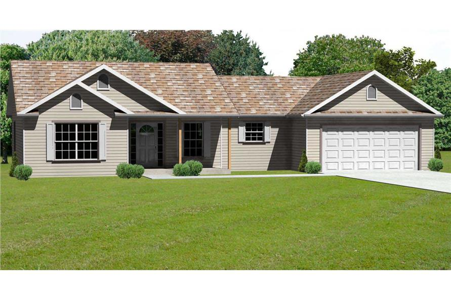This is a computer elevation for these Traditional Ranch House Plans.