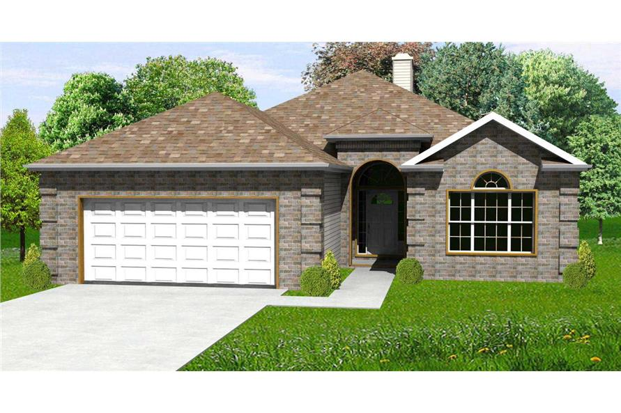 This is the front elevation of these European Home Plan.