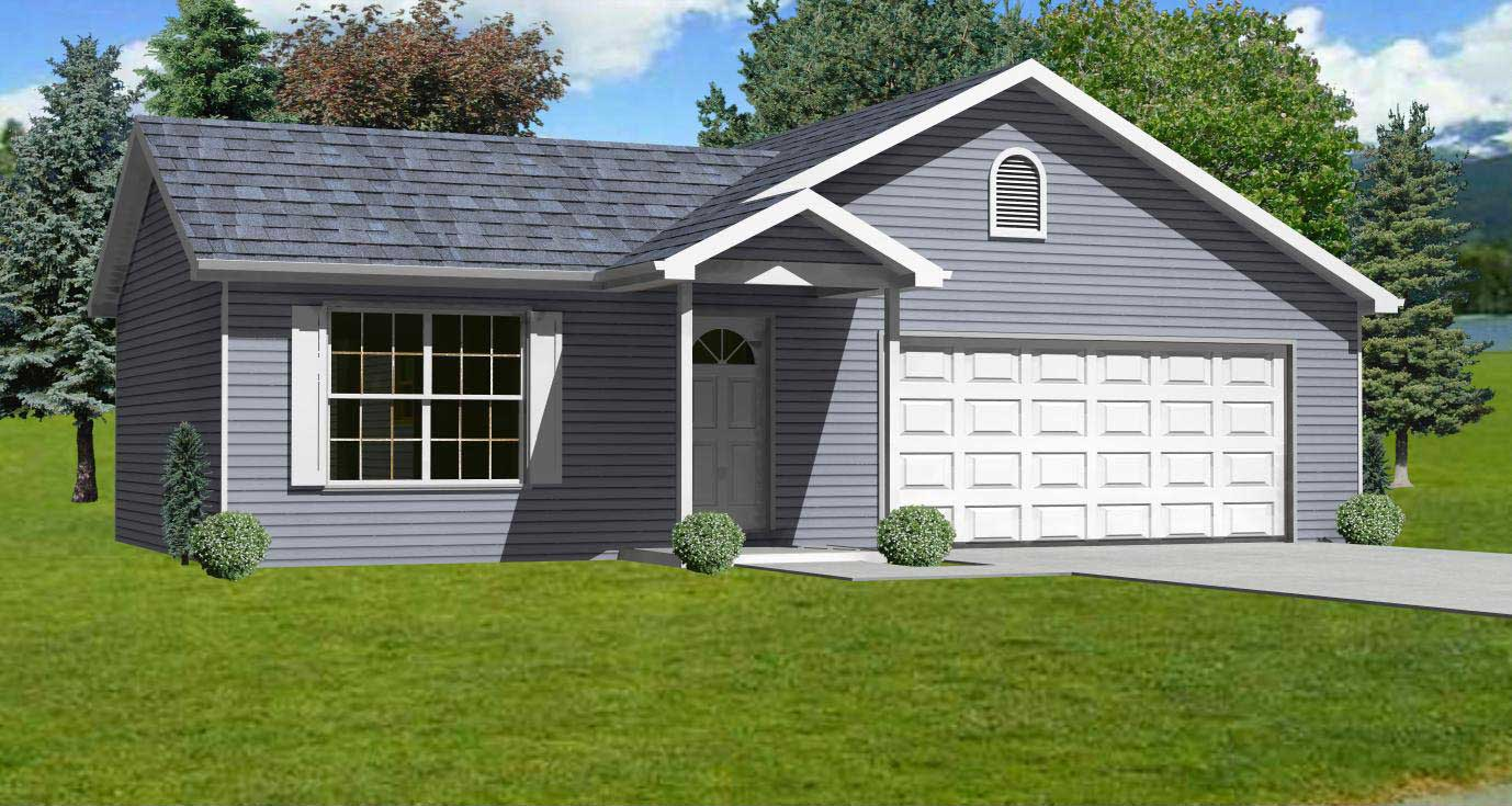 Small home plans home design mas1046 for Small house plans with garage