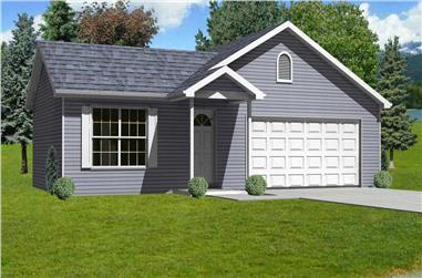 3-Bedroom, 1200 Sq Ft Ranch Home Plan - 148-1021 - Main Exterior