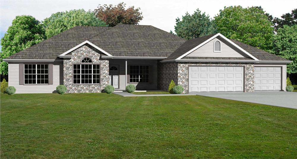 This is the front elevation of these Ranch House Plans.