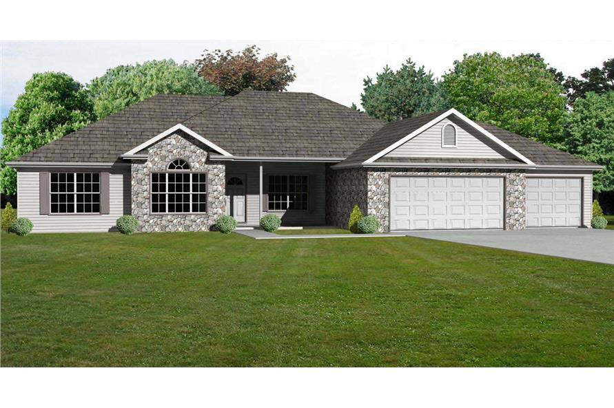 3-Bedroom, 2136 Sq Ft European House Plan - 148-1022 - Front Exterior