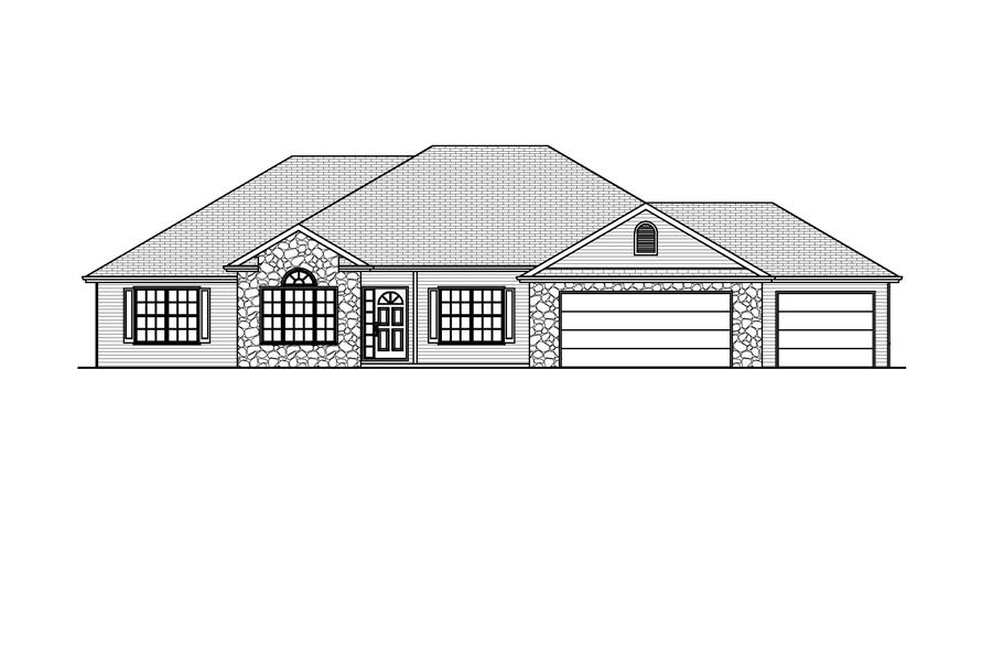 Home Plan Front Elevation of this 3-Bedroom,2136 Sq Ft Plan -148-1022
