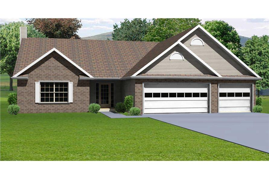 This image shows the front elevation for these Ranch Houseplans.