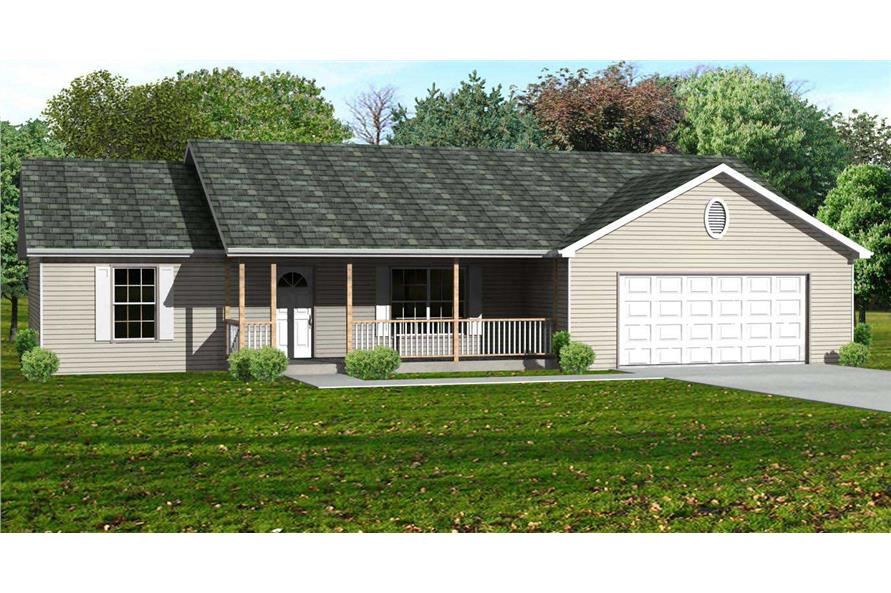 This is a colored rendering of these Country Ranch Home Plans.