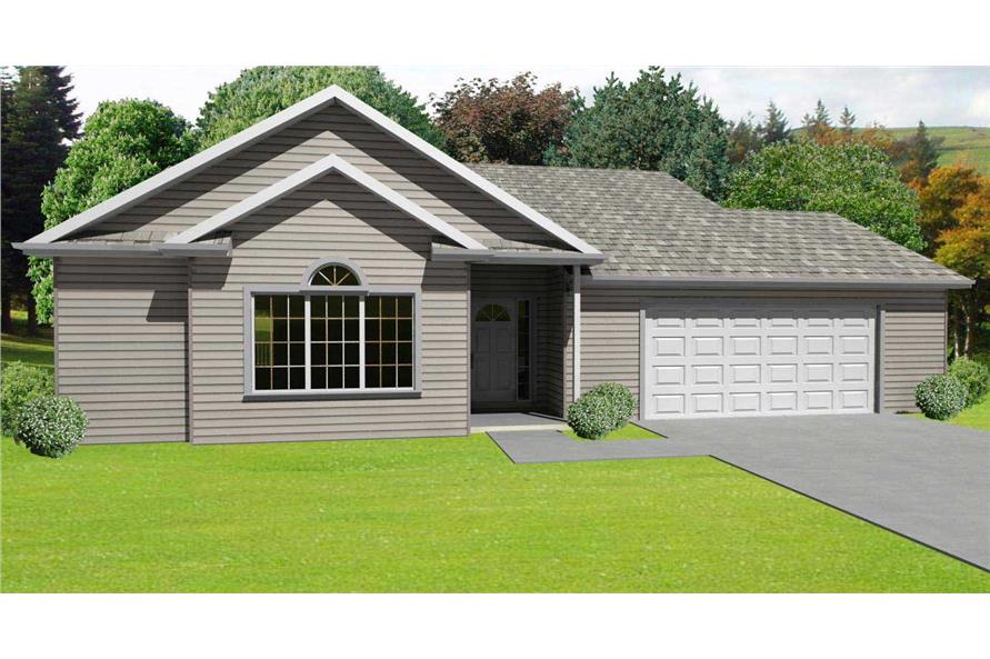 This is the front elevation of these Ranch House Plans