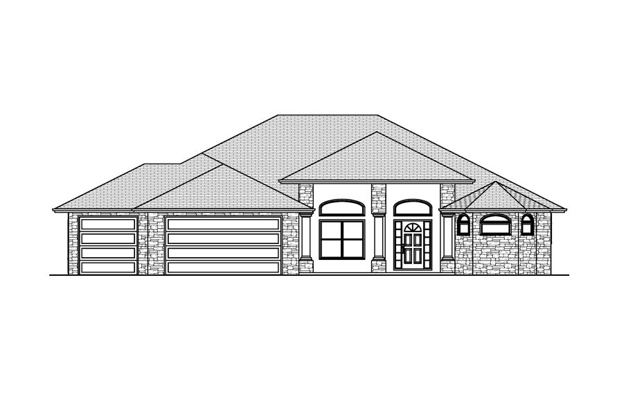 Home Plan Front Elevation of this 3-Bedroom,2672 Sq Ft Plan -148-1027