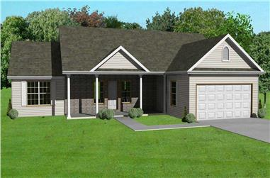 3-Bedroom, 1456 Sq Ft Country Home Plan - 148-1029 - Main Exterior