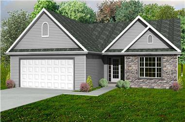 3-Bedroom, 1572 Sq Ft Country Home Plan - 148-1031 - Main Exterior
