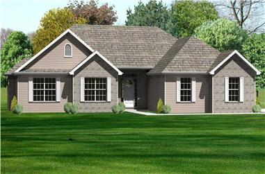 This is a nice rendering of the front of this set of Ranch House Plans.
