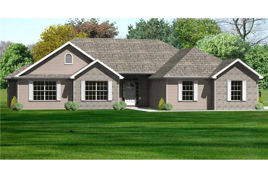 3-Bedroom, 1762 Sq Ft Country Home Plan - 148-1032 - Main Exterior