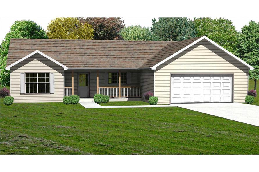 3-Bedroom, 1434 Sq Ft Country Home Plan - 148-1033 - Main Exterior