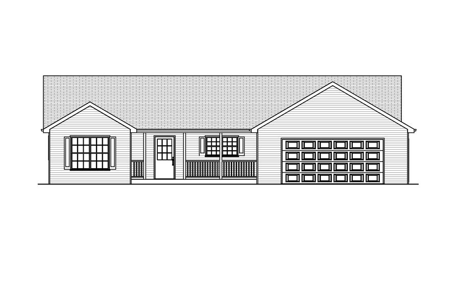 Home Plan Front Elevation of this 3-Bedroom,1434 Sq Ft Plan -148-1033