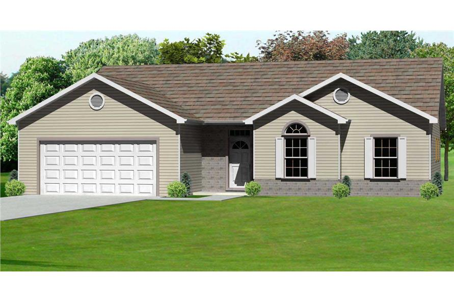 This is the computerized rendering of Ranch House Plans mas1064.