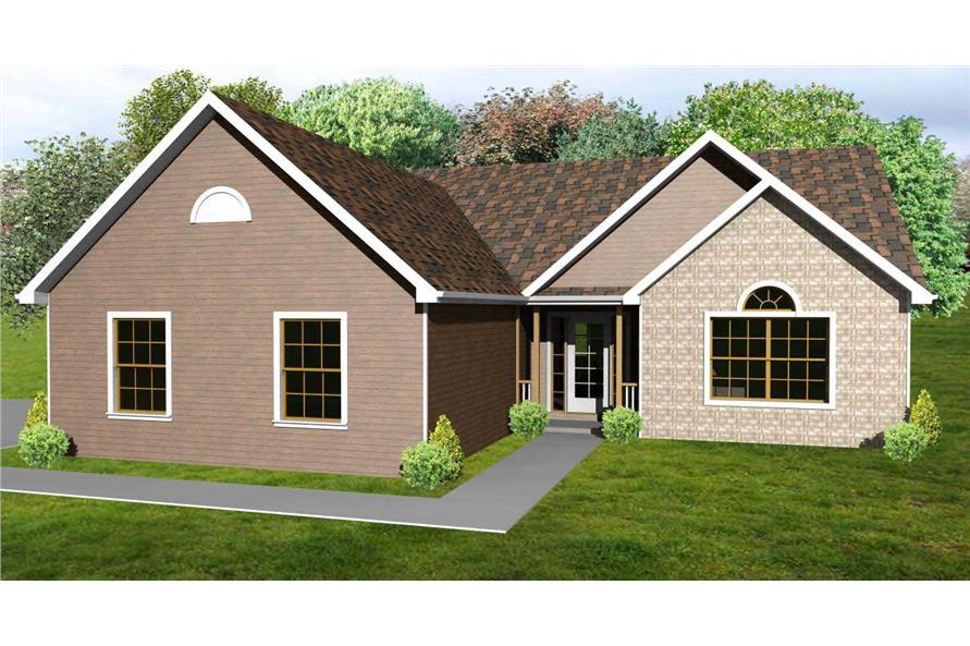This is the colored front rendering of these Craftsman House Plans.