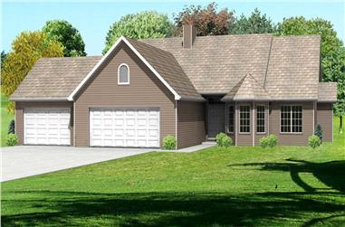 3-Bedroom, 2070 Sq Ft Country Home Plan - 148-1036 - Main Exterior