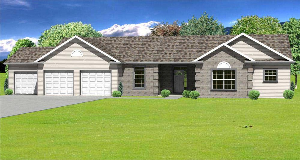 This image is a 3D computer rendering of these European Ranch Houseplans.