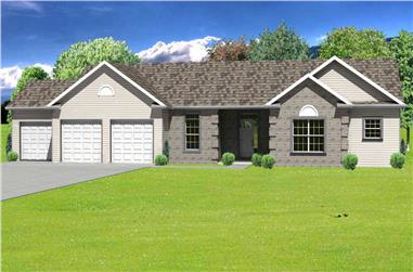 3-Bedroom, 2112 Sq Ft Country House Plan - 148-1037 - Front Exterior